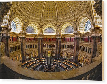 Library Of Congress Main Reading Room Wood Print by Susan Candelario