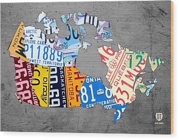 License Plate Map Of Canada On Gray Wood Print by Design Turnpike