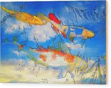 Life Is But A Dream - Koi Fish Art Wood Print by Sharon Cummings