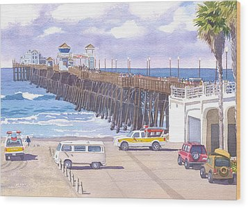 Lifeguard Trucks At Oceanside Pier Wood Print by Mary Helmreich