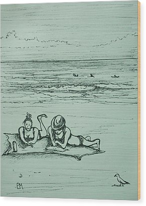 Life's A Beach Wood Print by Pete Maier