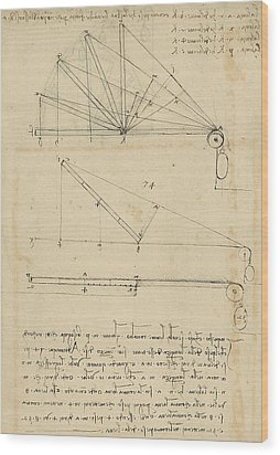Lifting By Means Of Pulleys Of Beam With Extremity Fixed To Ground From Atlantic Codex Wood Print by Leonardo Da Vinci