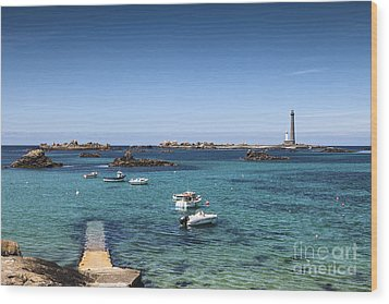 Lighthouse Ile Vierge Brittany France Wood Print by Colin and Linda McKie