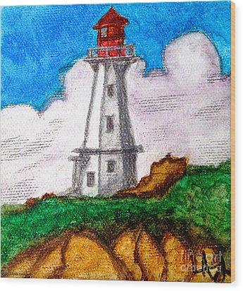 Lighthouse Nova Scotia Wood Print by Anita Lewis