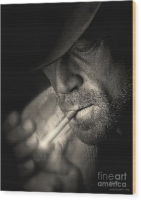 Lighting A Cigarette Wood Print by Pedro L Gili