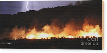 Wood Print featuring the photograph Lightning During Wildfire by Bill Gabbert