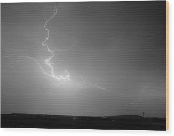 Lightning Goes Boom In The Middle Of The Night Bw Wood Print by James BO  Insogna