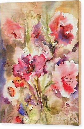 Lilies Wood Print by Neela Pushparaj