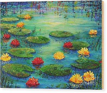 Lily Pond Wood Print by Teresa Wegrzyn