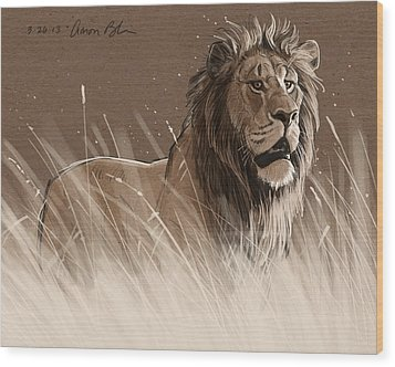 Lion In The Grass Wood Print by Aaron Blaise