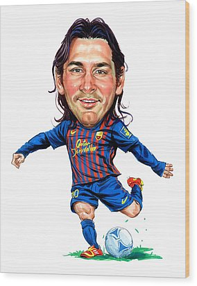 Lionel Messi Wood Print by Art