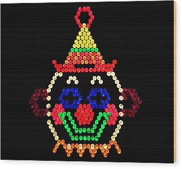 Lite Brite - The Classic Clown Wood Print by Benjamin Yeager