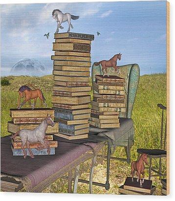 Literary Levels Wood Print by Betsy Knapp