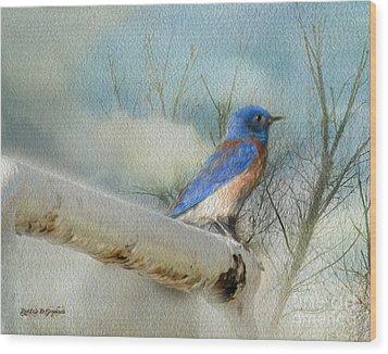 Little Blue Bird Wood Print by Rhonda Strickland