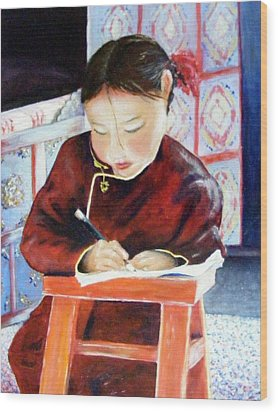 Little Girl From Mongolia Doing Her Homework Wood Print by Barbara Jacquin