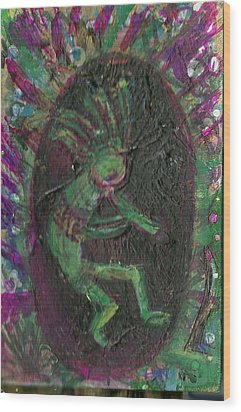 Little Kokopelli Green Wood Print by Anne-Elizabeth Whiteway