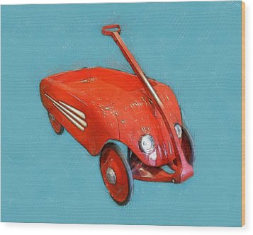 Little Red Wagon Wood Print by Michelle Calkins