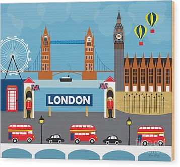 London England Skyline Style O-lon Wood Print by Karen Young