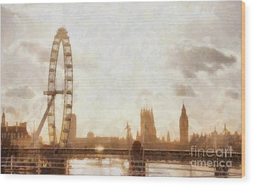 London Skyline At Dusk 01 Wood Print by Pixel  Chimp
