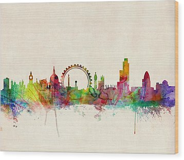 London Skyline Watercolour Wood Print by Michael Tompsett