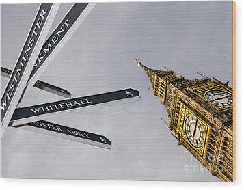 London Street Signs Wood Print by David Smith