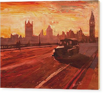 London Taxi Big Ben Sunset With Parliament Wood Print by M Bleichner