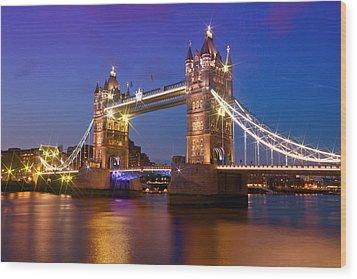 London - Tower Bridge During Blue Hour Wood Print by Melanie Viola