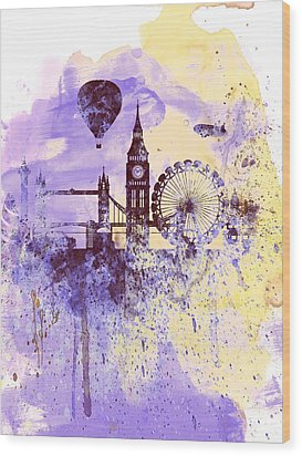 London Watercolor Skyline Wood Print by Naxart Studio