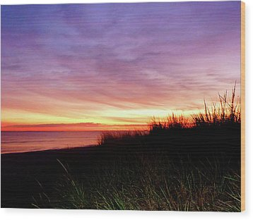 Lonely Beach At Sunrise Norfolk Va Wood Print by Susan Savad