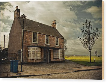 Lonely House On The Shore Of The River Forth. Culross Sketches. Scotland Wood Print by Jenny Rainbow