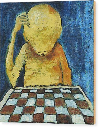 Lonesome Chess Player Wood Print by Michal Boubin