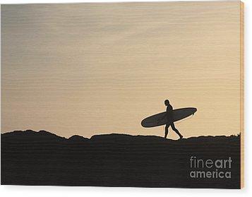 Longboarder Crossing Wood Print by Paul Topp