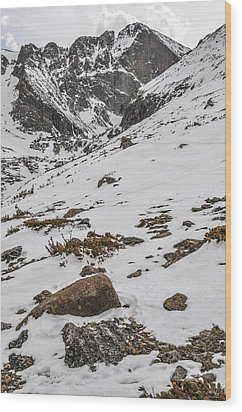 Longs Peak -  Vertical Wood Print by Aaron Spong