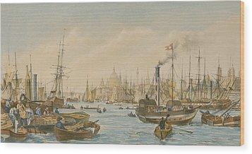 Looking Towards London Bridge Wood Print by William Parrot
