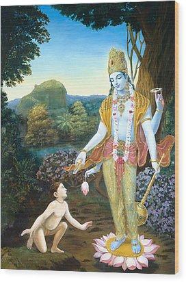 Lord Vishnu Apprears To Dhruva Wood Print by Dominique Amendola