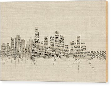 Los Angeles California Skyline Sheet Music Cityscape Wood Print by Michael Tompsett