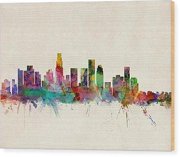 Los Angeles City Skyline Wood Print by Michael Tompsett