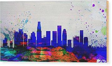 Los Angeles City Skyline Wood Print by Naxart Studio