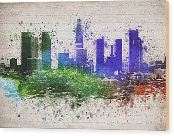 Los Angeles In Color  Wood Print by Aged Pixel