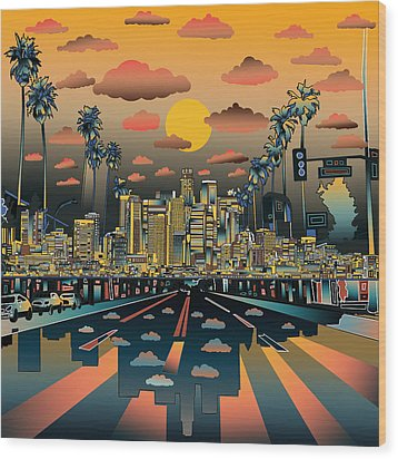 Los Angeles Skyline Abstract 2 Wood Print by Bekim Art
