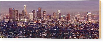 Los Angeles Skyline At Dusk Wood Print by Jon Holiday