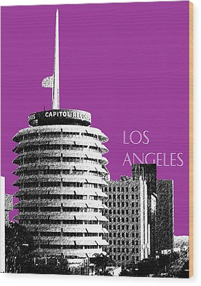 Los Angeles Skyline Capitol Records - Plum Wood Print by DB Artist