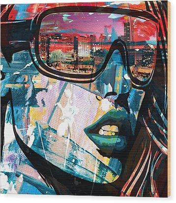 Los Angeles Skyline Wood Print by Corporate Art Task Force