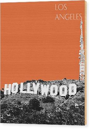 Los Angeles Skyline Hollywood - Coral Wood Print by DB Artist