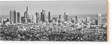 Los Angeles Skyline Panorama Photo Wood Print by Paul Velgos