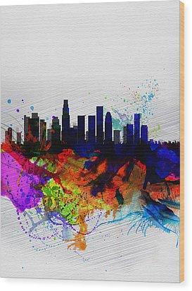 Los Angeles  Watercolor Skyline 2 Wood Print by Naxart Studio