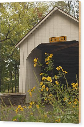 Loux Bridge And Tickseed In September Wood Print by Anna Lisa Yoder