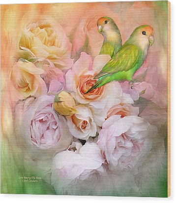 Love Among The Roses Wood Print by Carol Cavalaris