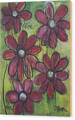 Love For Five Daisies Wood Print by Laurie Maves ART