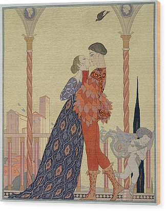 Lovers On A Balcony  Wood Print by Georges Barbier
